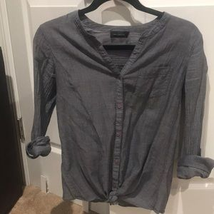 Tie-Front Chambray Blouse - XS